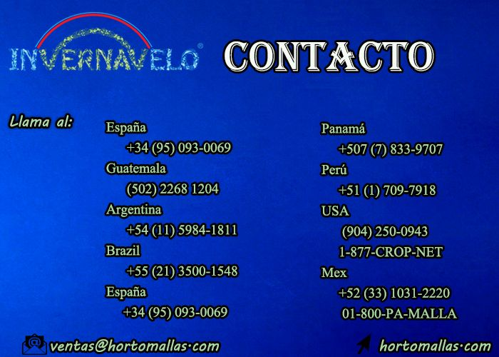 información de contacto INVERNAVELO HORTOMALLAS